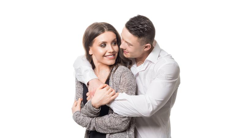 Close up millennial couple in love. Portrait of a couple planning a happy future. Holding couple royalty free stock image