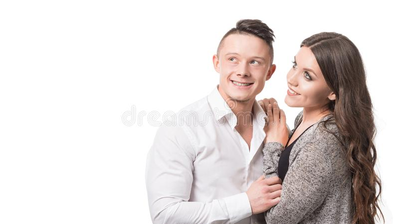 Close up millennial couple in love. Portrait of a couple planning a happy future. Tender relationship loving people stock image
