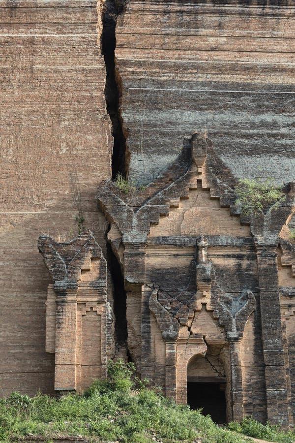 Close up of Mingun Pagoda, ruins of Mingun, Mandalay, Myanmar. Mingun Pagoda is an incomplete stupa in Mingun, northwest of Mandalay in Myanmar royalty free stock images