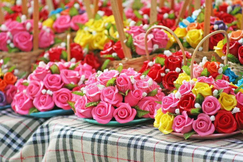 Miniature clay roses,Clay flower royalty free stock photo