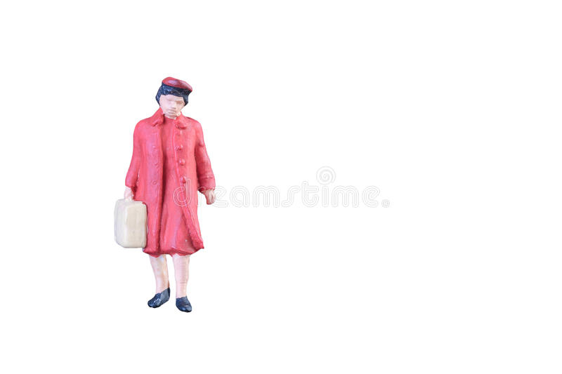 Close up of Miniature people isolated with clipping path stock photo