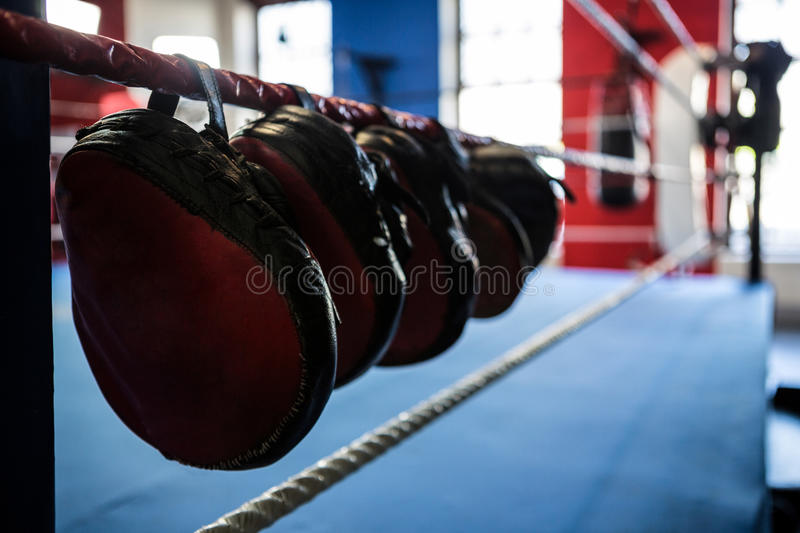 Close-up of mitts hanging from boxing ring royalty free stock image