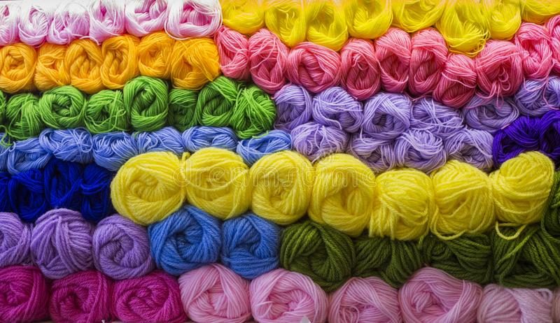 Close up mix color of yarn for background. royalty free stock image