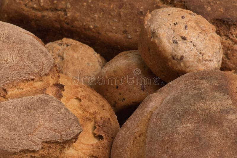Close up of a freshly baked bread basket royalty free stock image