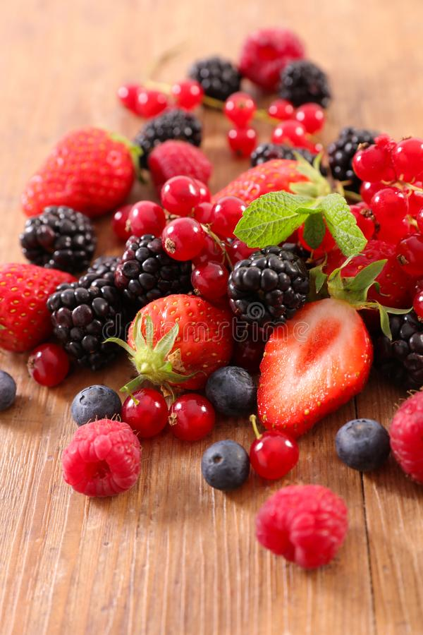 Mixed berry fruit. Close up on mixed berry fruit royalty free stock photo