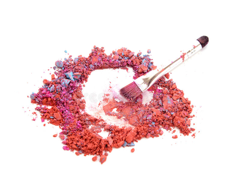 Close up mixed colors make up with brush. stock photo