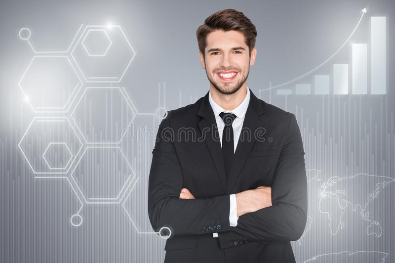 Close up mixed creative design stylized graphic virtual poster photo confident he him his business guy social marketing vector illustration