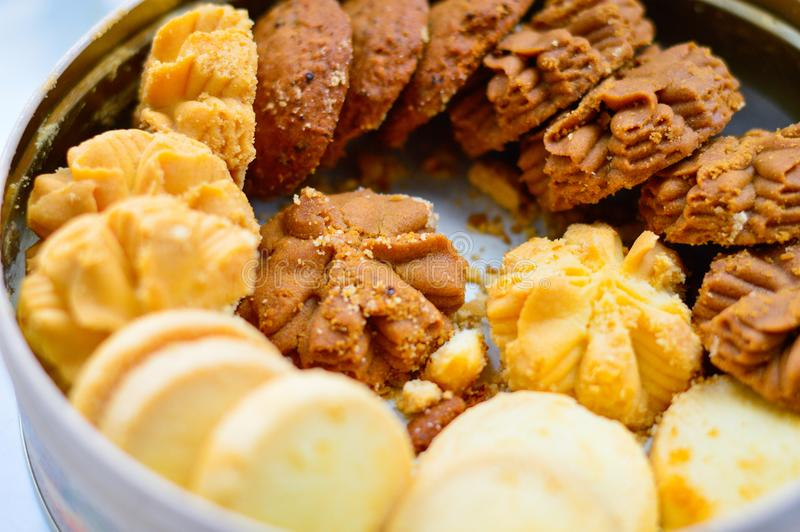 Close up of Mixed Flavor Cookies in Round Box royalty free stock photography