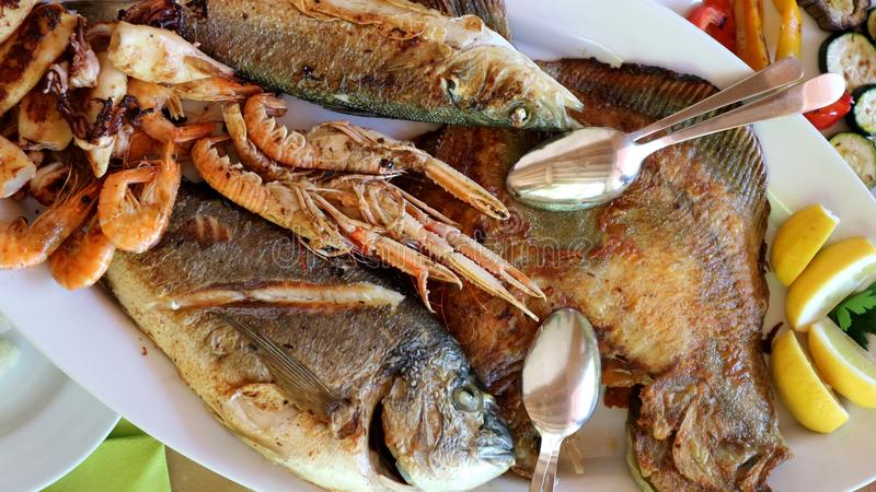 Close up of mixed grilled fish with turbot, sea bass, sea bream, prawns and squids.  royalty free stock photo