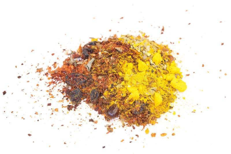 Close up of mixed seasoning on white stock image