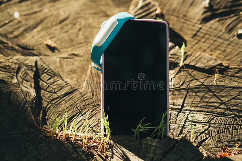 Close-up of mobile phone with blank screen royalty free stock photography