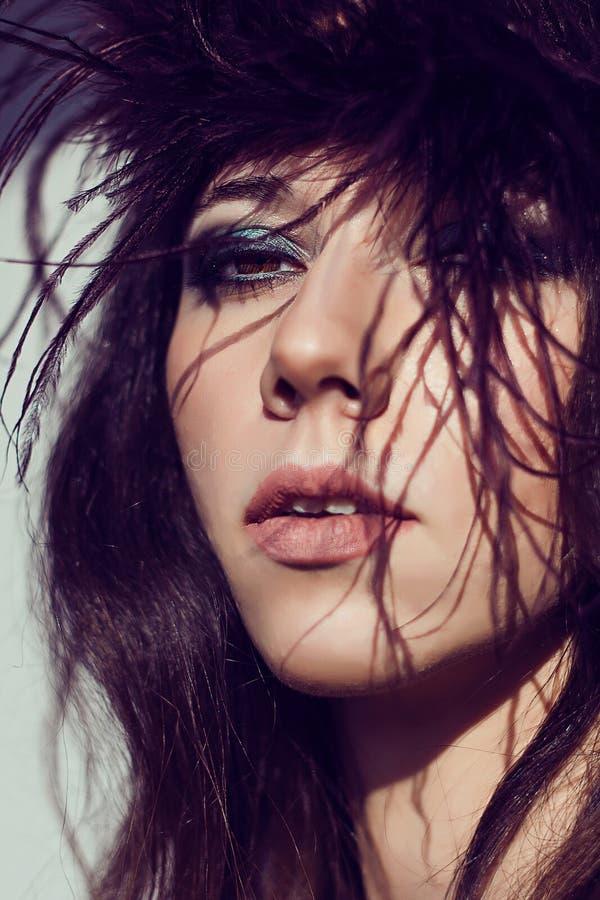 Close up model fashion portrait. Color smoky eyes turquoise. stock image