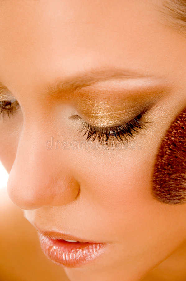 Close up of model using blusher stock photos