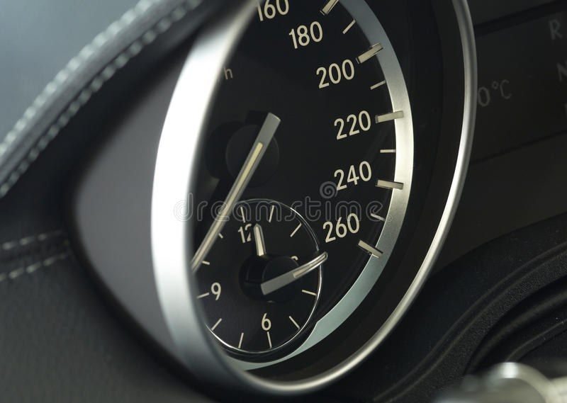 Close up of a modern car dashboard stock photo
