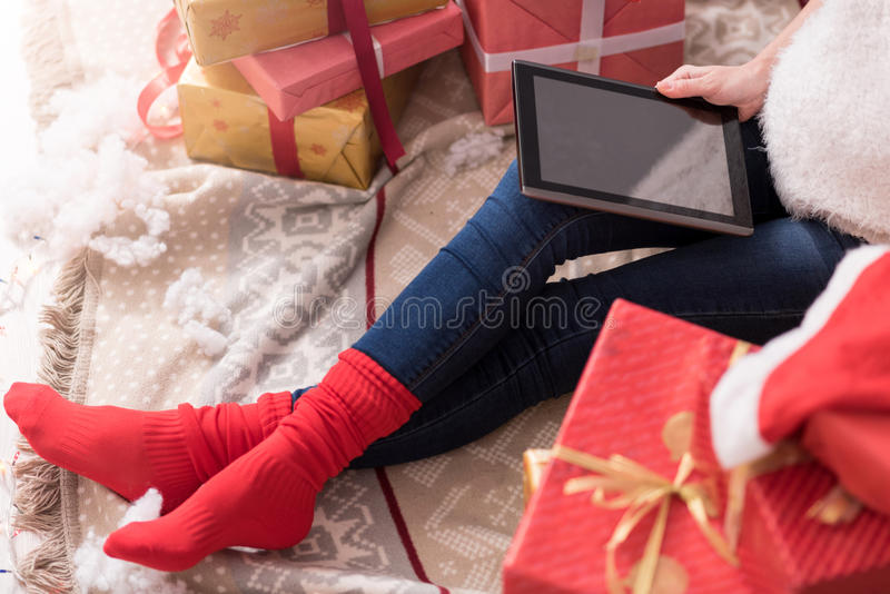 Close up of a modern innovative tablet being in use royalty free stock photos