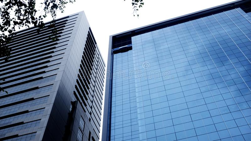 Modern office building.building with copy space.windows office building for background stock photos