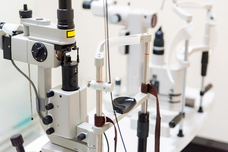 Close up modern ophthalmological laser used for eye surgery on table royalty free stock photo