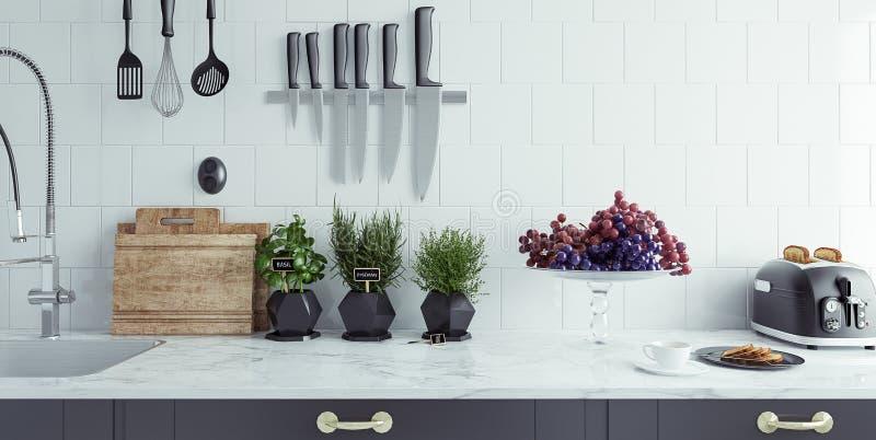 Close-up moderno do interior da cozinha imagem de stock royalty free