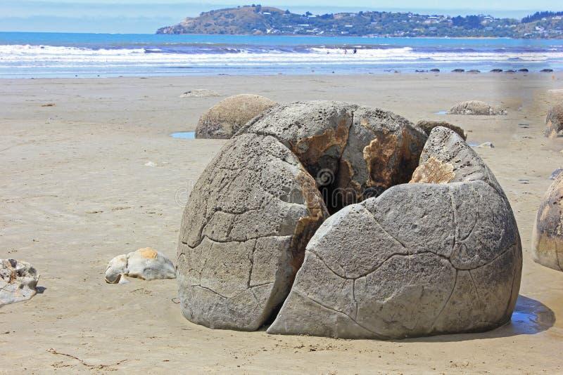 Close up of a moeraki boulder royalty free stock photography