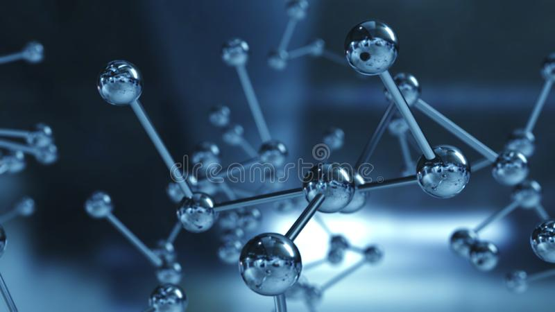 Close up of Molecular structure model. 3D illustration. Close up of Molecular structure model 3D illustration royalty free stock images