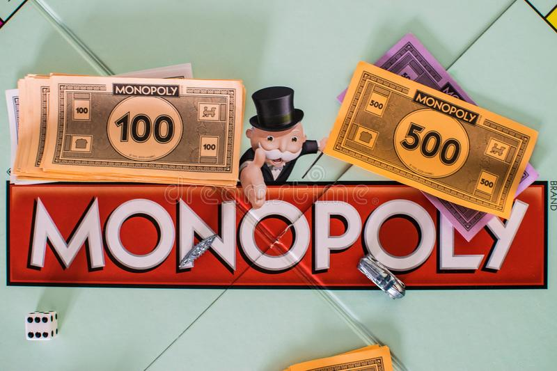 Close up of Monopoly board. With money and dice stock photo