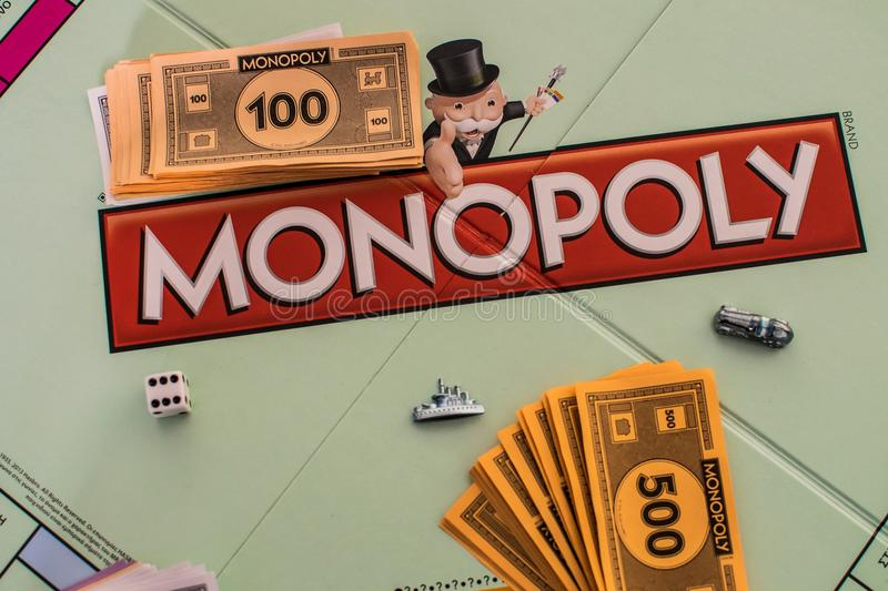 Close up of Monopoly board. With money and dice royalty free stock photos