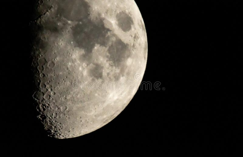 Close-up moon movement in space. Moon close up in the night sky stock image