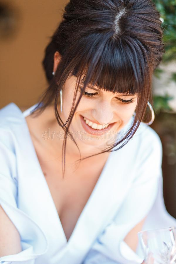 Close up morning portrait of the cute bride stock images