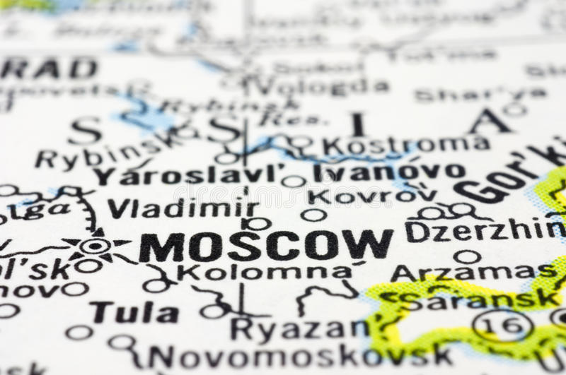 Close Up Of Moscow On Map Russia Stock Images Image 24485314