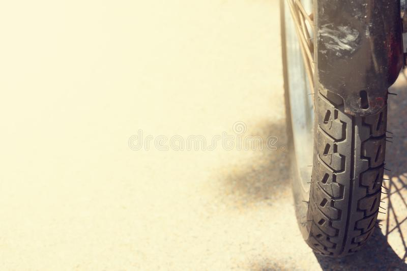 Close up motorcycle wheels on the road. royalty free stock images