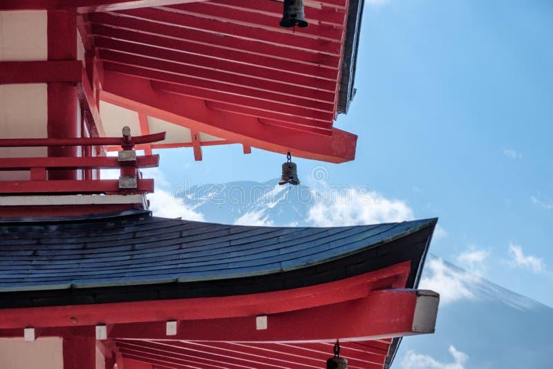 Close up Mount Fuji through Chureito Pagoda stock images