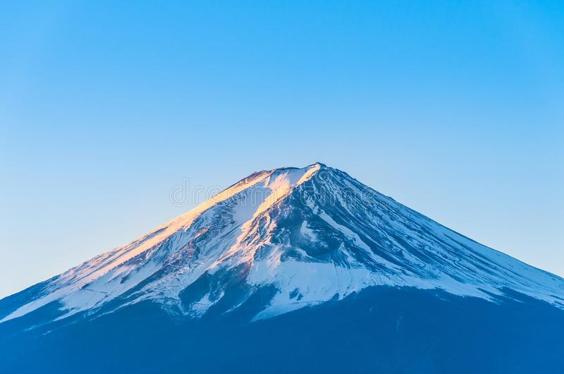 Close-up of Mount Fuji view with Lake Kawaguchi and clear blue sky background in Kawaguchiko, Japan Peak of Fuji mountain cover wi stock photos