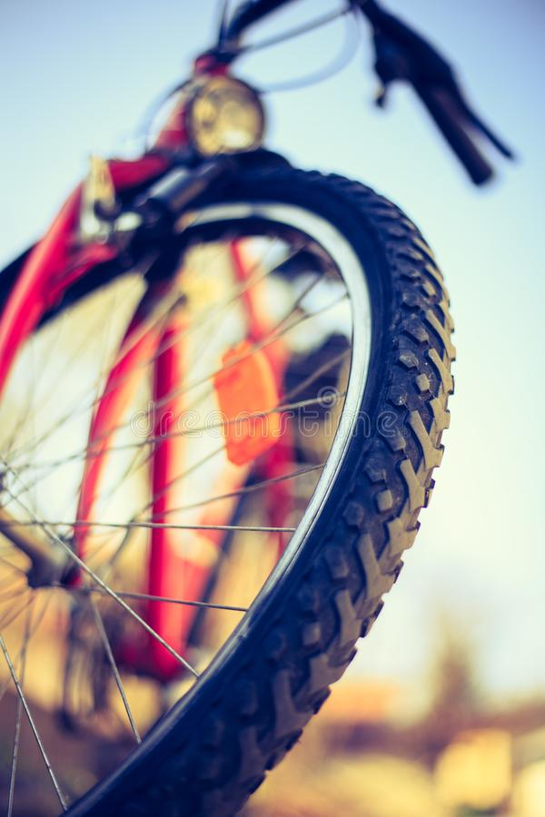 Close up of mountain bike tyres outside, summer day, city mobility. Bike in blurry background. Close up picture of a mountain bike tyre, summer day. Bike in the royalty free stock images