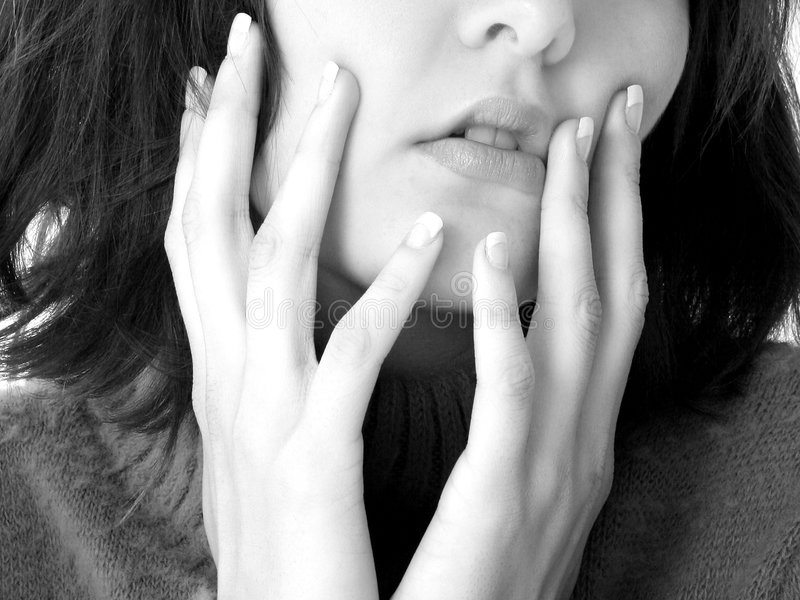 Close Up Of Mouth And Hands Royalty Free Stock Photography