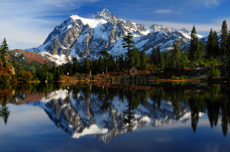 Close-up of Mt Shuksan. Close-up of Mount Shuksan reflected across Picture Lake royalty free stock photos