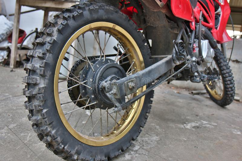 Close-up of muddy rear wheel stock images