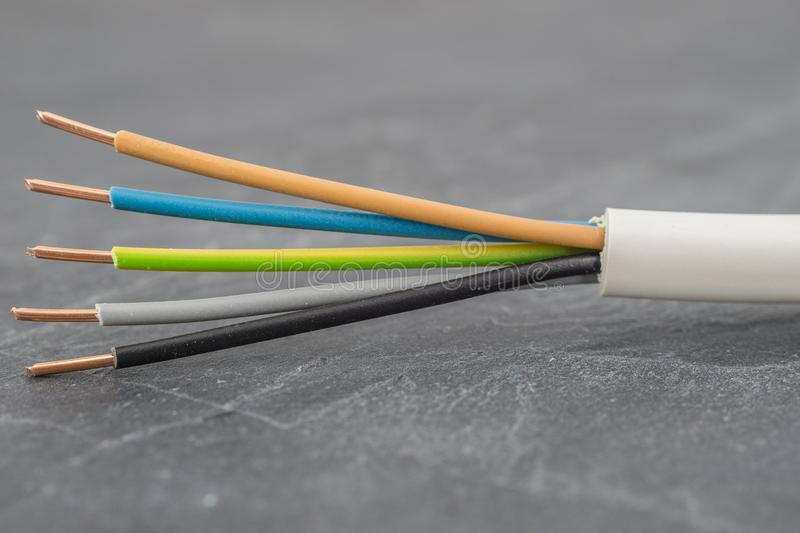 Close up of a multi-conductor insulated power cable. NYM stock photography