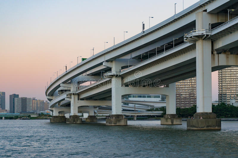 Close up of multi level bridge. Modern urban infrastructure royalty free stock image