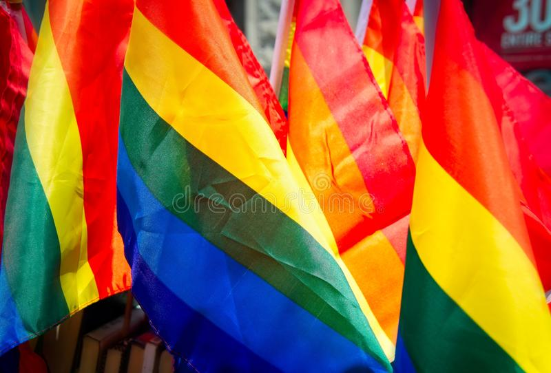 Rainbow flags for sale previous to the New York City Pride Parade. royalty free stock image