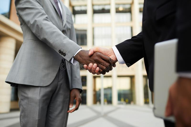 Business greeting before meeting stock photography