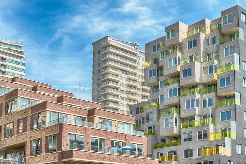 Close up of multiple balconies of modern apartments at the zuidas in Amsterdam, luxery apartments, living, houses. Amsterdam, George Gershwinlaan, The royalty free stock photography