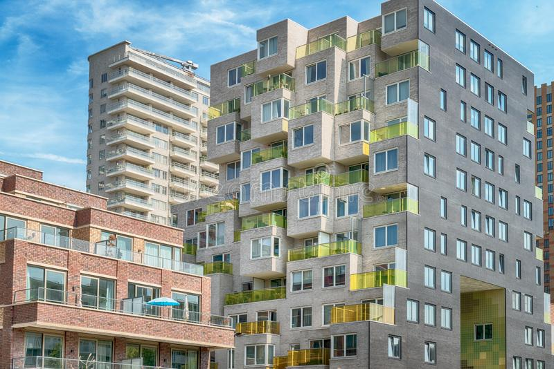 Close up of multiple balconies of modern apartments at the zuidas in Amsterdam, luxery apartments, living, houses. Amsterdam, George Gershwinlaan, The royalty free stock image