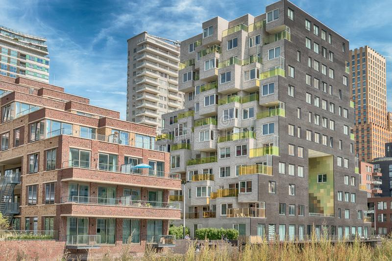 Close up of multiple balconies of modern apartments at the zuidas in Amsterdam, luxery apartments, living, houses. Amsterdam, George Gershwinlaan, The stock photos
