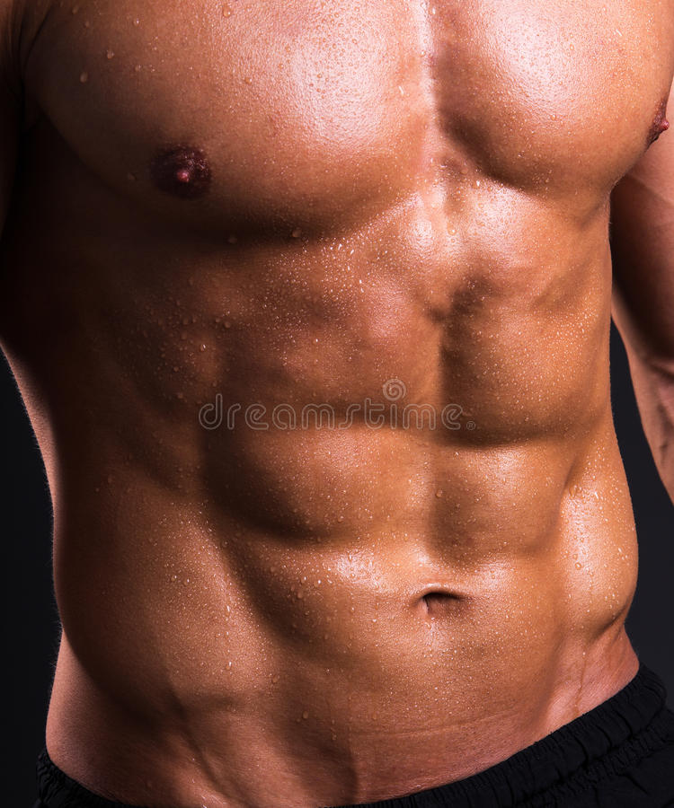 Close up of muscular male torso stock images