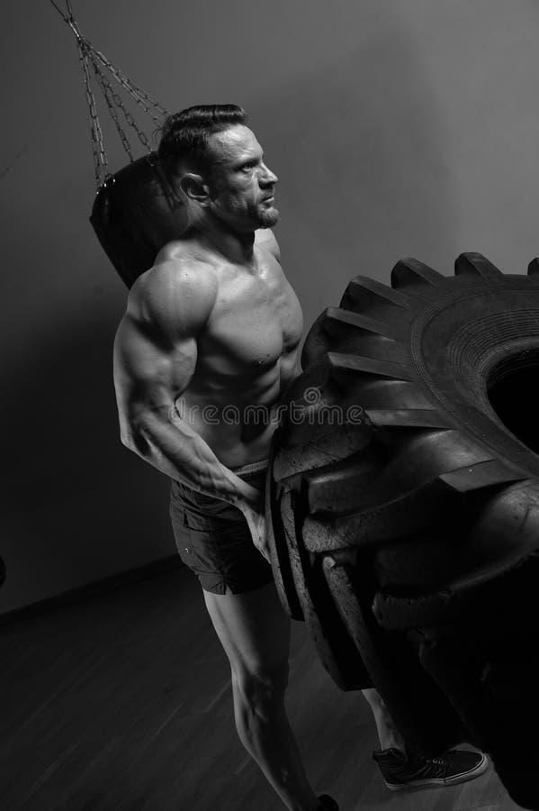 Close-up - muscular strong man lifting heavy tyre stock photos