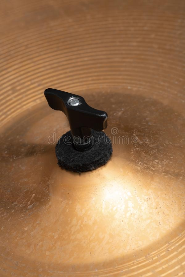 Close-up of musical instrument cymbals. musical instrument. Close-up of musical instrument cymbals. the musical instrument royalty free stock photo