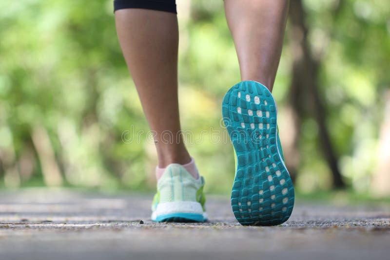 Close up na sapata, na mulher que correm na manhã no parque, na aptidão e no conceito saudável do estilo de vida fotos de stock