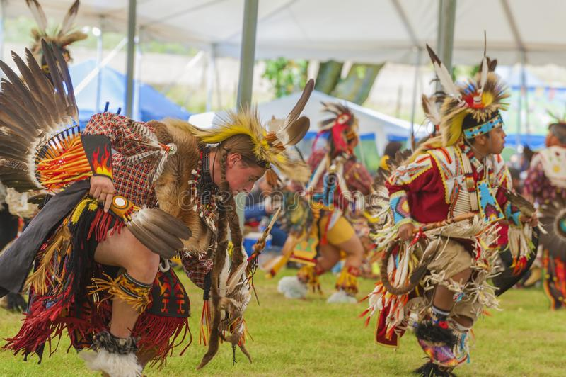 Close up of Native American Indian Turkey Dance stock photography