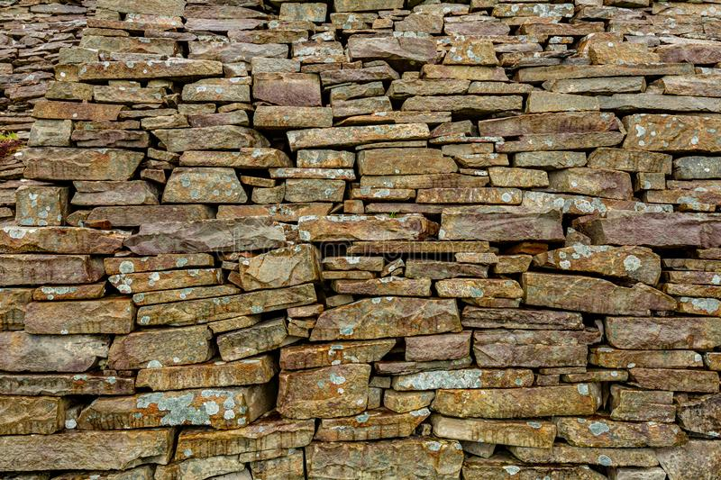 Close up of a natural limestone wall, limestone texture. Geosites and geopark, spring day in the countryside in county Clare in Ireland stock photo