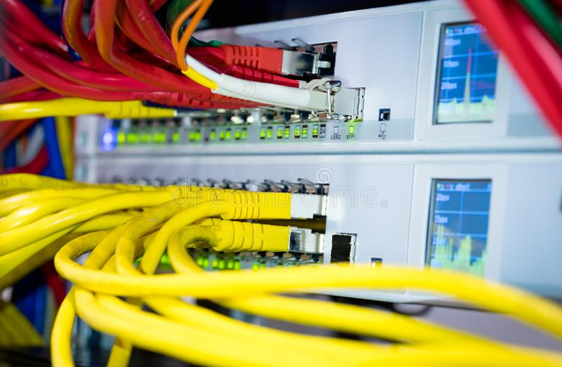Computer server network switch and cable, ethernet hub royalty free stock photography